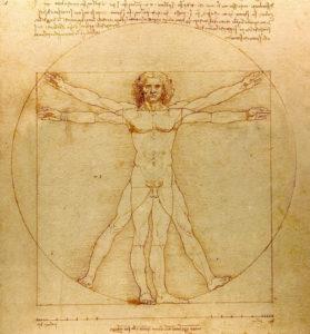 Proportionsschema der menschlichen Gestalt von Leonardo da Vinci nach Vitruv