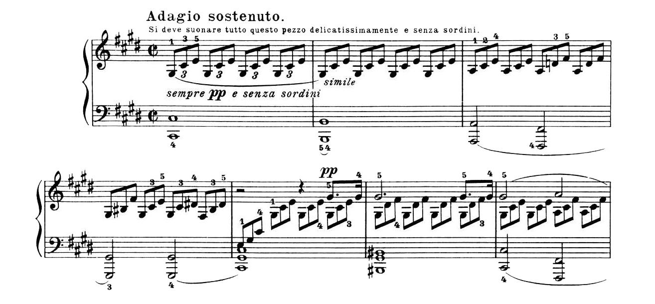 """Ludwig van Beethoven: Beginn des ersten Satzes der Klaviersonate Nr. 14 op 27/2 """"Mondscheinsonate"""""""