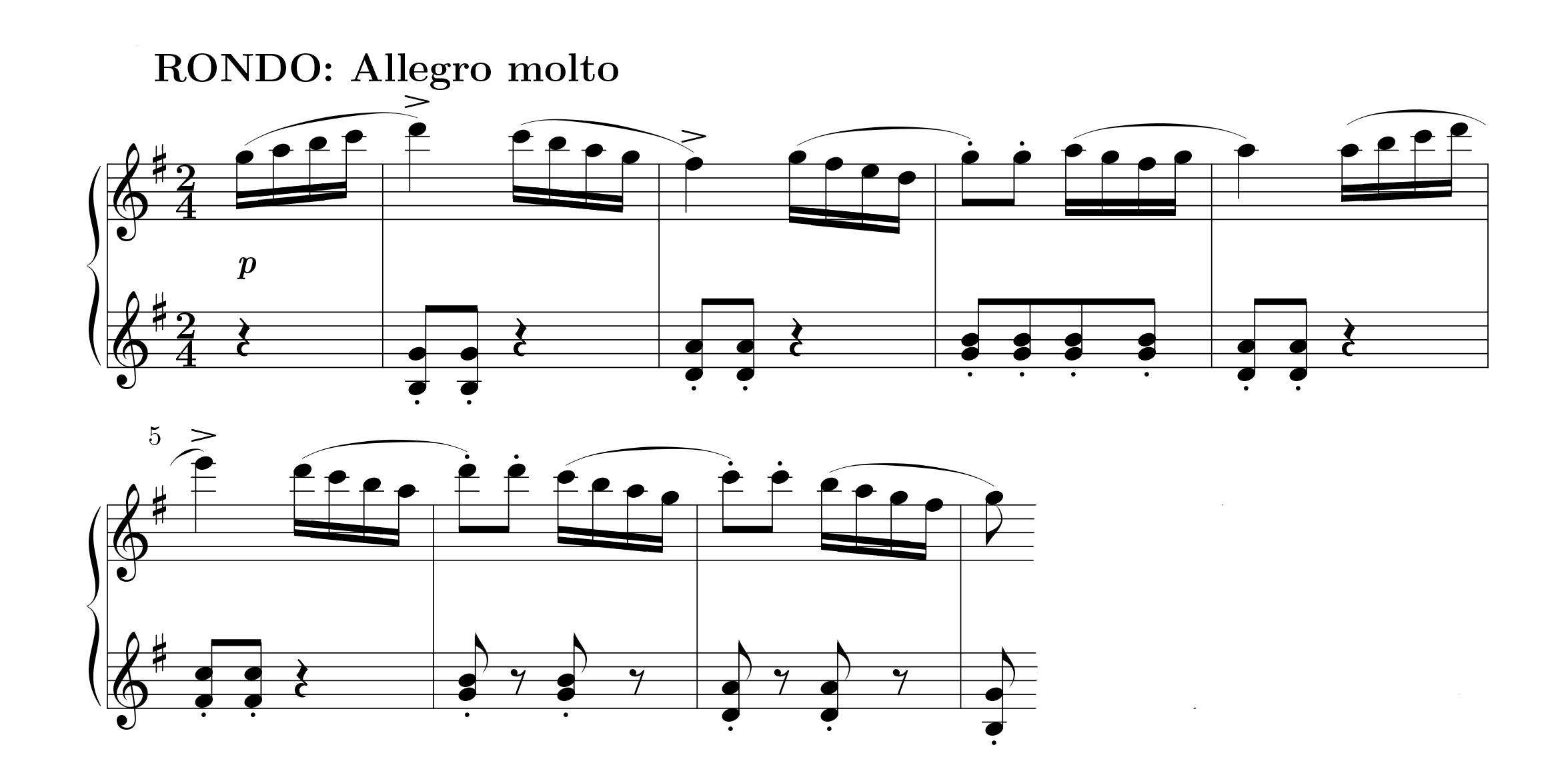Muzio Clementi: Beginn des 3. Satzes aus der Sonatine op 36/5
