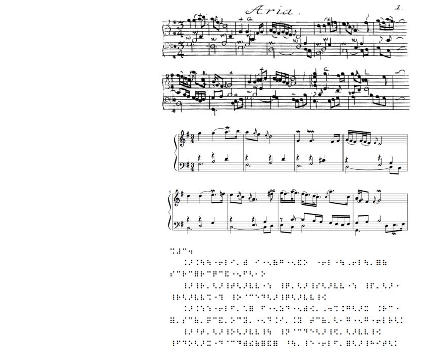 """""""Aria"""" aus Bachs Goldberg-Variataionen im Originaldurck von 1741 (oben), in modernem Notendruckbild (mitte) und in Braille-Notenschrift (unten)"""