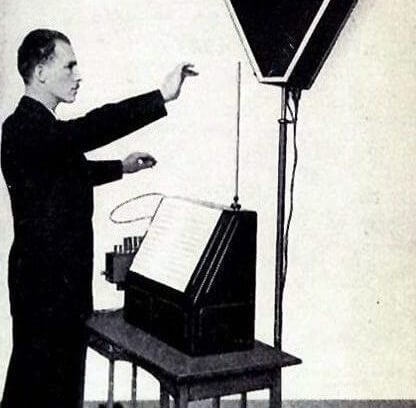 Lew Termen (Leon Theremin) spielt das Theremin © gemeinfrei