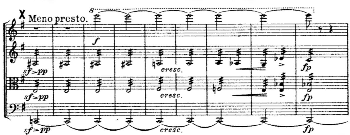 """""""Aus meinem Leben"""": In das Finale seines Streichquartetts Nr. 1 komponierte Bedřich Smetana seinen Tinnitus als penetrantes hohes e hinein, hier zu sehen im obersten Notensystem © gemeinfrei"""
